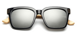 Bamboo Sunglasses - Black Frame Mercury Lens