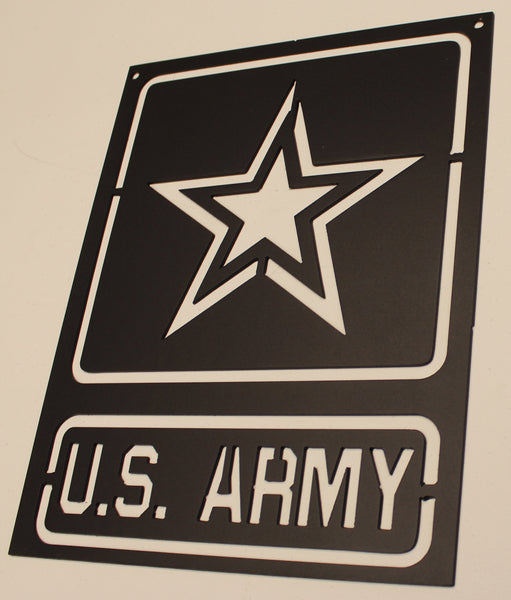 Army Sign Metal Wall Art Home Decor Flat Black
