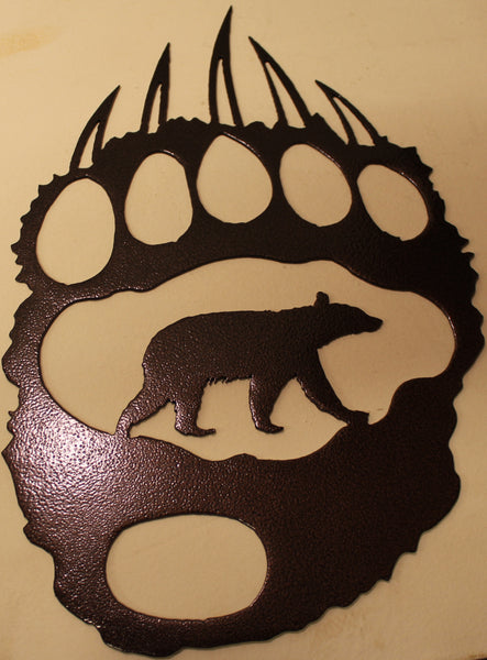Bear Track with Bear Metal Wall Art Copper Vein Finish