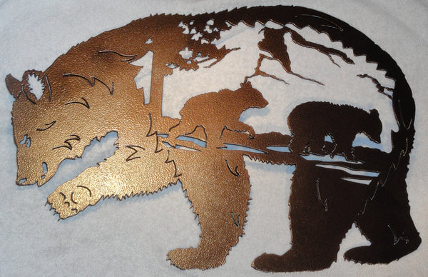 Bear with Bear Scene Metal Wall Art Copper Vein Finish