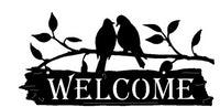 Birds on a Branch Welcome Sign Metal Wall Art