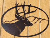 Buck Oval Scene Copper Vein Metal Wall Art
