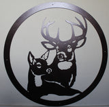 Buck and Doe Metal Wall Art Copper Vein Finish