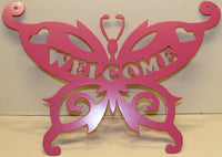 Butterfly Welcome Sign Metal Wall Art