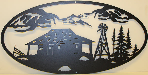 Cabin and Windmill Oval Scene Metal Wall Art Home Decor
