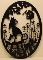 Cat and Birdhouse Oval Scene Metal Wall Art
