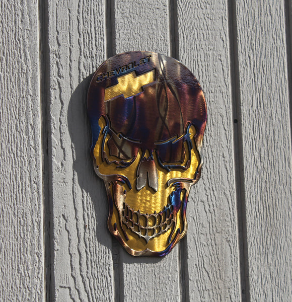 Skull with Chevy Logo Metal Wall Art