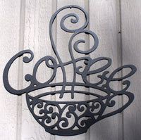 Steaming Coffee Mug Metal Wall Art