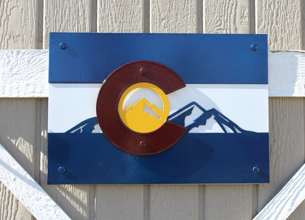 Colorado Flag with Mountains Metal Wall Art
