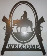 Cowboy and Guns Welcome Sign Metal Wall Art