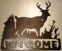 Deer Welcome Sign Metal Wall Art