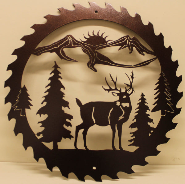 Deer and Mountain Saw Blade Metal Wall Art