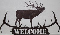 Elk Antler Welcome Sign Metal Wall Art