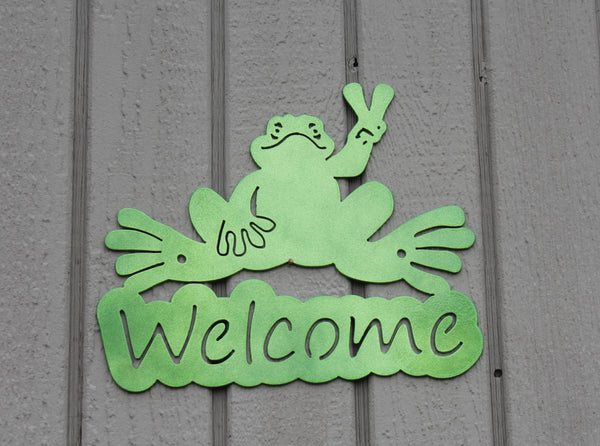 Frog Welcome Sign Metal Wall Art