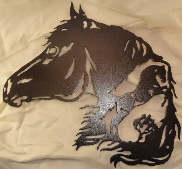 Horse with Horse Scene Metal Wall Art