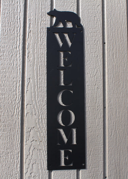 Bear Vertical Welcome Sign Metal Wall Art
