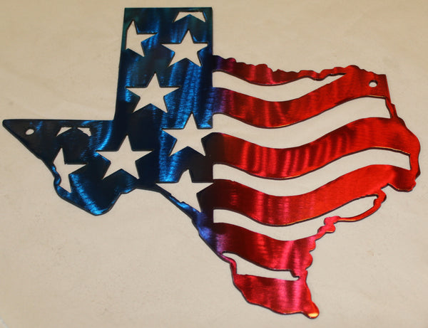 Texas with American Flag Metal Wall Art