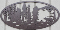 Bear and Forest Oval Scene Metal Wall Art