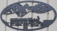 Train on a Bridge Oval Scene Metal Wall Art