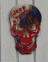 Skull with Jeep Logo Metal Wall Art