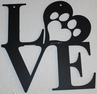Love with Paw Print in Heart Metal Wall Art Flat Black Finish