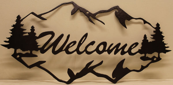 Mountains Welcome Sign Metal Wall Art