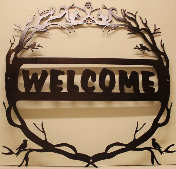 Nature Welcome Sign Metal Wall Art