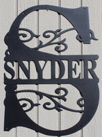 Split Letter Monogrammed Name Metal Wall Art