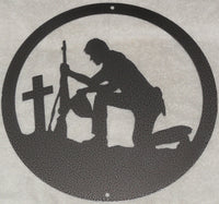 Soldier and Cross metal Wall Art
