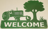 Tractor Welcome Sign Metal Wall Art