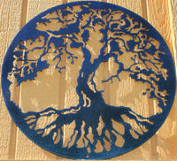 Tree of Life Metal Wall Art Chameleon Teal