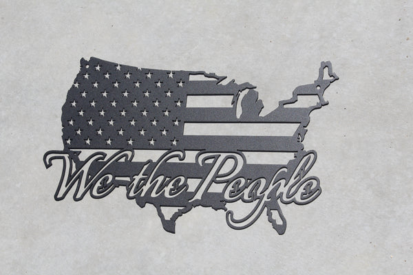 We the People American Flag in USA Flat Black