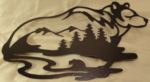 Bear with Bear, Mountains, and Forest Scene Metal Wall Art