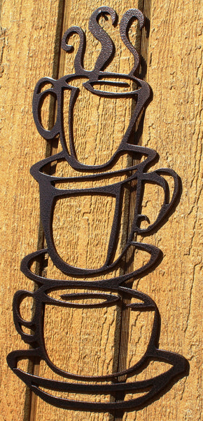 Coffee Cups Stack Metal Art Copper Vein