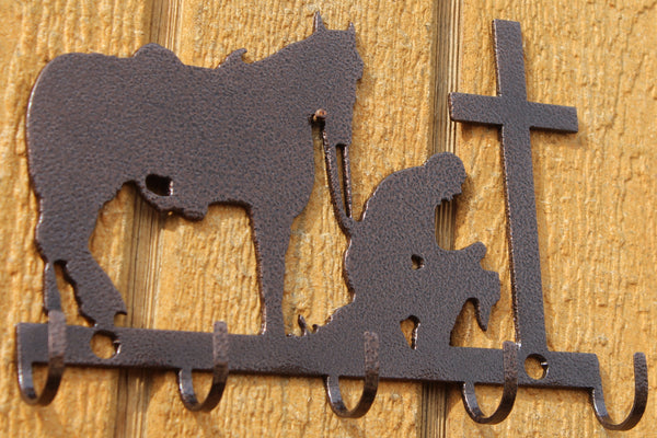 Cowboy and Cross Key Holder Metal Art