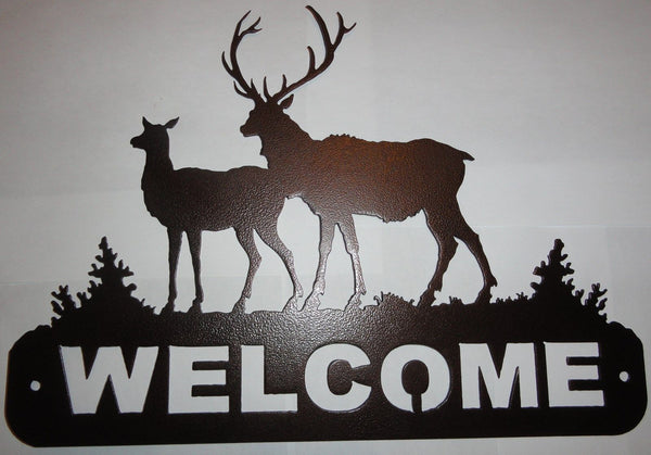 2 Elk Welcome Sign Metal Wall Art