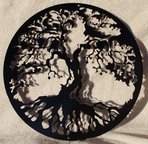 Tree of Life Metal Wall Art Gloss Black