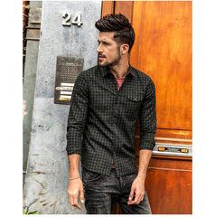 100% Pure Cotton Long Sleeve Slim Fit Plaid Shirt