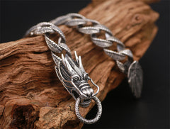 925 Sterling Silver Dragon Curb Chain Bracelet