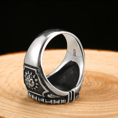 925 Sterling Silver Green Cubic Zirconia Masonic Ring