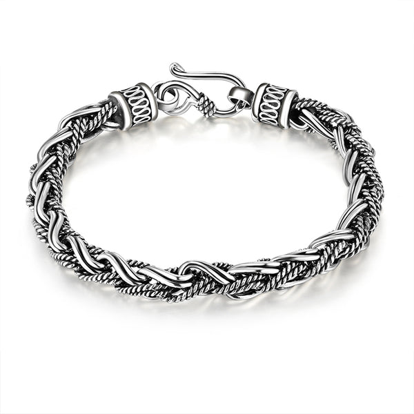 Genuine 925 Sterling Silver Rope Twisted Bracelet