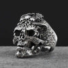 925 Sterling Silver Skull Open Ring - Adjustable Size
