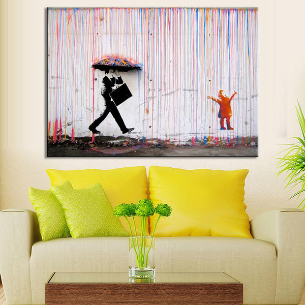Banksy Art Colorful Rain Print on Canvas Painting