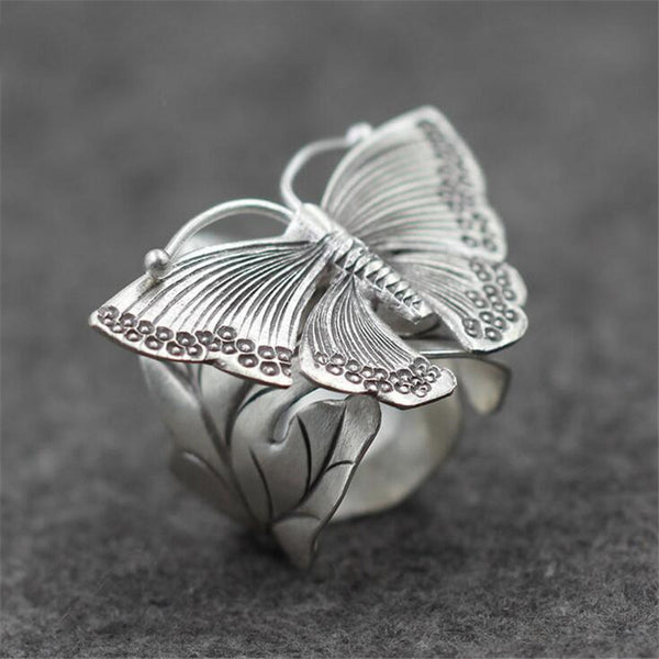 Butterfly on leaves 12g 925 Silver Ring