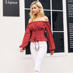 Casual off shoulder lace up ruffle blouse shirt