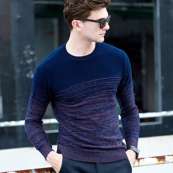 Casual 100% Merino Wool Cashmere  Gradient Color Print O-Neck Sweater