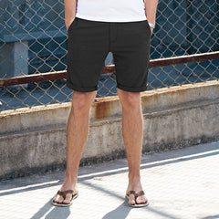 Casual Cotton Knee length Slim Solid Base Man Short