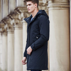 Casual Hooded Longline Zipper Coat - Black