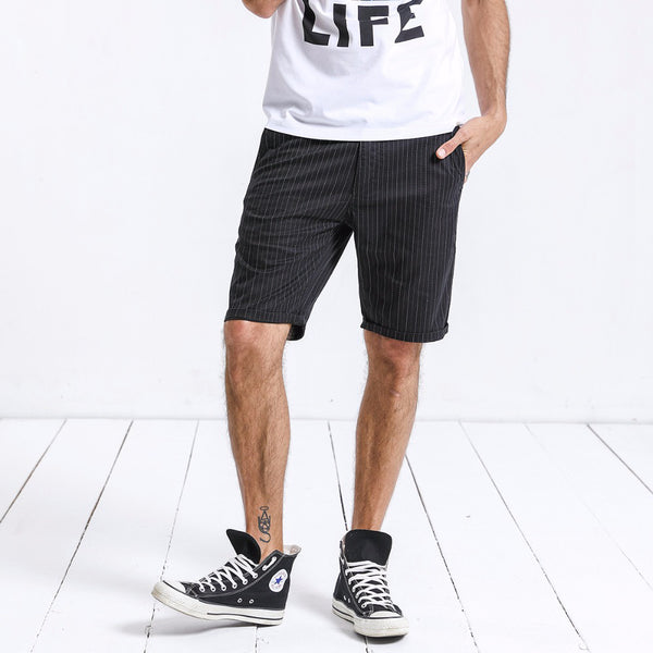 Casual Striped Straight Knee-Length Short