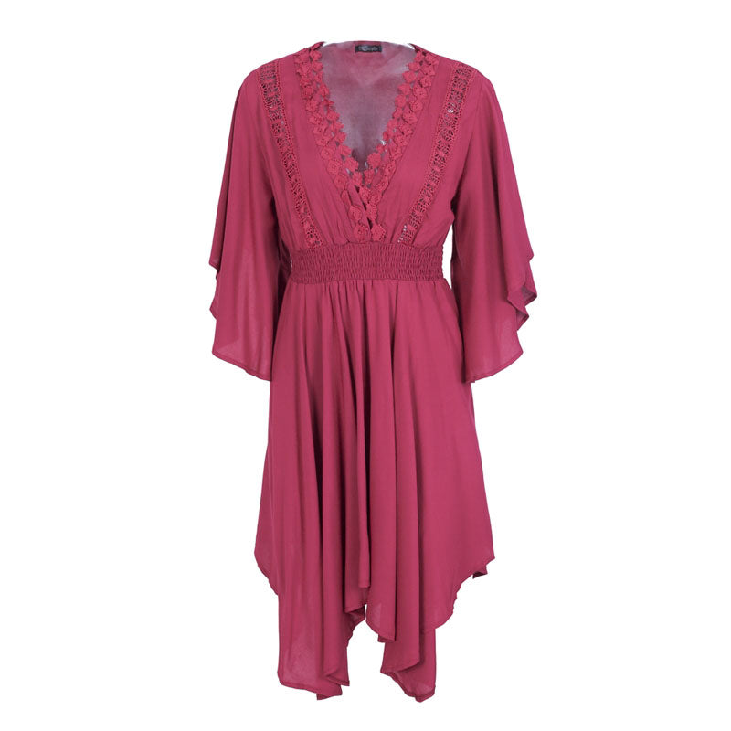 Casual V-neck lace hollow out summer dress